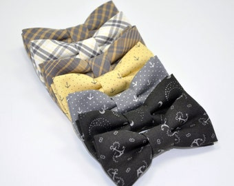 Gray and Yellow Bowtie, Boy's Bow Tie, Boy's Bowtie, Anchor Bowtie, Toddler Bowtie, Nautical Bowties, Plaid Bow Tie, Ring Bearer Tie