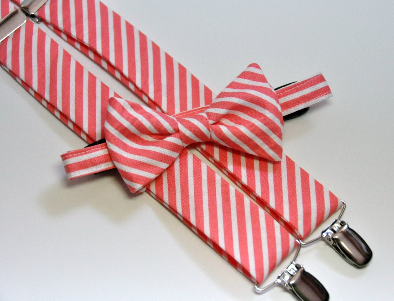 coral bow tie and suspender set coral pink stripe by
