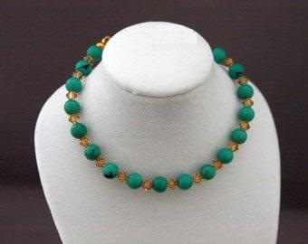 Turquoise Dyed Howlite and Swarovski Crystal Bracelet