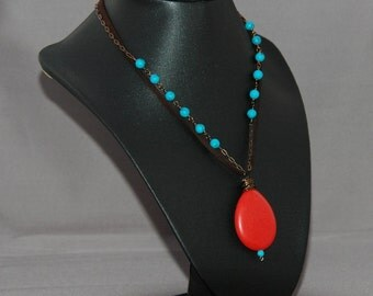 Dyed Howlite on Brass Chain with Leather cord and Red Stone Drop Necklace