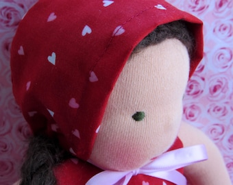 red hearts doll bonnet fits 10 to 12 inch Waldorf doll babies