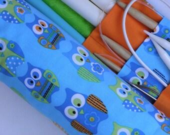 large knitting needle organizer - knitting needle case - owls in blues, orange and lime- 36 pockets