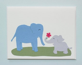 Elephant baby and mother - thank you card - new baby card - handmade birthday card by Emily Lin