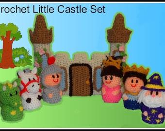 Crochet Little Castle Set, crochet patterns, princess crochet pattern, playset pattern, crochet dragon