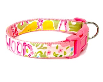 Dog Collar Made from Lilly Pulitzer Lillywood Fabric Size: Your Choice