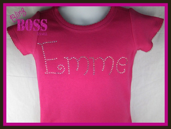 Hot Pink Crystal Name Shirt Custom Bling Tee Shirt With