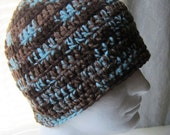 Crochet Beanie Hat Skullcap: Brown, Tan, Teal - Men Unisex