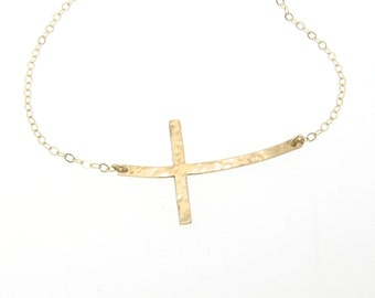 Sideways Cross Necklace, 14K Gold Curved, Hammered Cross - Yellow, White or Rose Gold Curved or Straight
