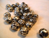 Silver Wash Plastic Rosebud Beads - 28 pieces - 12 mm beads
