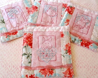 Valentine Scottie Dog Mug Rugs Pattern Set Hand Embroidery PDF Instant Download