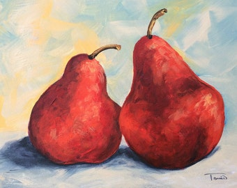 """Really Red Pears 5"""" x 7"""" Original Still Life Pear Painting by Torrie Smiley"""
