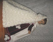 OOAK Burgundy Velvet and Venise Lace Juliet Gown and Fur Cape with Matching Juliet Cap and Accessories for American Girl Doll