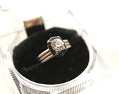Simple Band Stack Ring Clear Rhinestone Crystal Sterling Ring