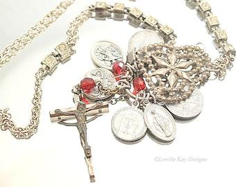 Religious Medal Assemblage Necklace Catholic Saints Necklace