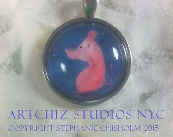Cute Pink Pig Art Jewelry - Real Glass - 1 Inch Circle Bezel Silver Pendant - Cute Pink Pig - The Left Side of Pork