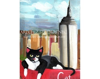 C for Cat.  Alphabet Animal. Art Print. Empire State Building in NYC - Black and White Cat. Awesome Baby Shower Gift. Kids Art Poster
