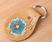 Leather Key Chain - Key Chain - Flower Key Chain - Handmade Leather - Key Chain in the Belle pattern with turquoise and antique brown roses