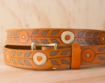 Leather Belt - Chocolate Brown Dress Belt - Carved leather in the Blaise pattern