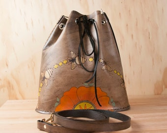 Bee Line Bucket Bag - Leather purse with bees and flower - yellow, coral, orange, green, gold and antique black