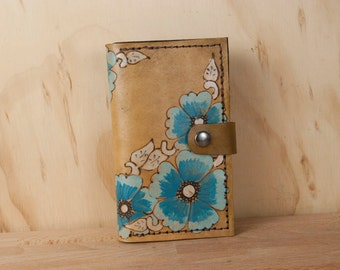 iPhone Case for 5 5c 6 6+ 7 7+ - Leather iPhone Case - Flower iPhone Case in Belle Pattern of blue roses and antique brown - iPhone Wallet