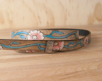Leather Belt - Womens Belt - Handmade Belt - Belt -Skinny Belt - Aurora Belt with Flowers in pink, turquoise, white and antique black