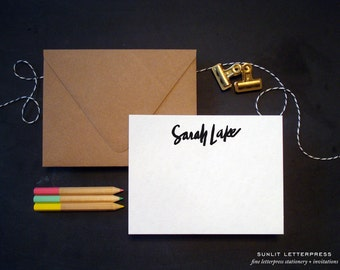 Custom Calligraphy Note Cards - Letterpress Note Cards - Custom Brush Script - Custom Stationery Set - 100 sets