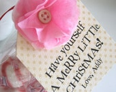 Merry Christmas Party Favor Tag Stocking Stuffer Secret Santa Gifts tissue paper flower and personalized quotes Hand-stitched vintage button