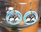 Winter Tree Ceramic Earrings in Blue