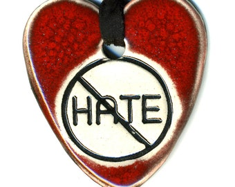 Choose Love Not Hate Ceramic Necklace in Deep Red