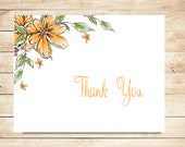 Personalized Thank You Card Stationery - Personalized Stationary - Orange Stationery