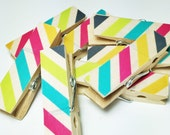Chunky Washi Covered Clothespins - set of 8 Striped