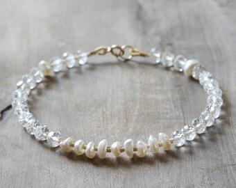 Delicate beaded bracelet - white topaz, Keishi pearls, glass & 14k gold fill - bridal jewelry - pearl bracelet