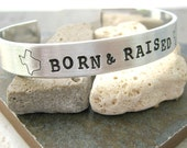 TEXAS Born and Raised Stamped Aluminum Cuff, Choose from all 50 states, see charts, United States jewelry, lonestar state, fifty states