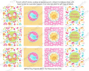 Printable Hello Sunshine Birthday Cupcake Toppers - Instant Download