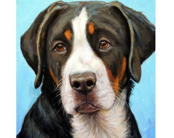 "Greater Swiss Mountain Dog Art Original Painting by Dottie Dracos ""Sweet Puppy Swissy"", 16x20 canvas - SALE"