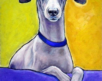 Italian Greyhound Dog Art CLEARANCE 8x10 Print of Original Painting by Dottie Dracos, Iggy on a Bed