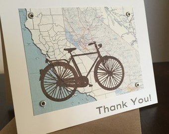 California Bike and Map - Screen-Printed Thank You Card