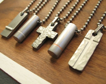 Mens Christmas Gift Pendant Necklace Cross Silver Copper Steel Tag Tin SALE