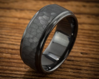 Men's Wedding Band Comfort Fit Interior Hammered Black Zirconium Ring