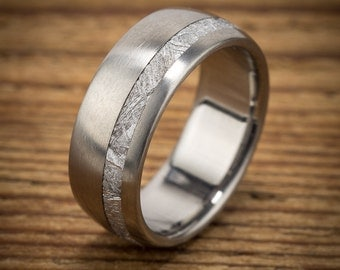 Meteorite Titanium Men's Wedding Band Offset Stripe
