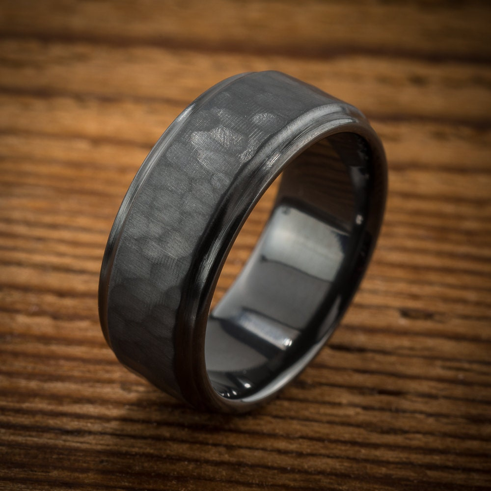 mens wedding band comfort fit interior black mens wedding rings Men s Wedding Band Comfort Fit Interior Hammered Black Zirconium Ring zoom