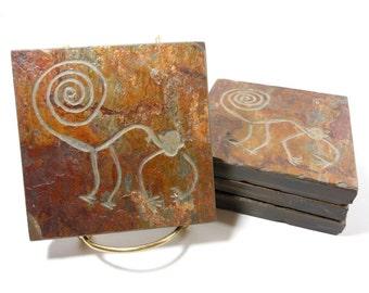 Stone Coasters: Nazca Monkey Coasters - 4 Etched Slate Coasters, Carved Slate Coasters, Unusual Novelty Coaster Alien Extraterrestrial Decor