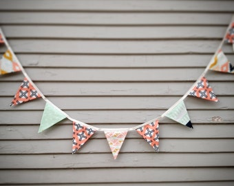 Arizona Fabric Bunting Flag Banner, Garland Bunting.  Mint, Apricot, Beige, Navy 11 Medium Fabric Flags, Weddings, Birthdays, Shower Decor.