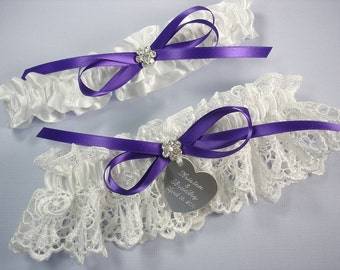 Purple Wedding Garter Set, Personalized White Bridal Garters in Venice Lace with Engraving, a Bow and Rhinestones
