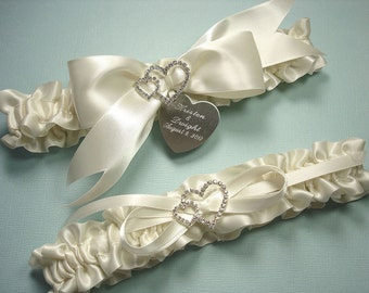Personalized Ivory Wedding Garter Set in Satin with Engraving and Rhinestone Linked Hearts