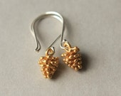 Gold Pinecone Earrings, Pinecone Jewelry, Dangle Earrings, Mixed Metal Jewelry, Woodland Jewelry