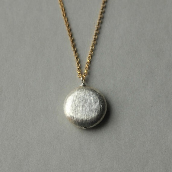 Sterling Circle Necklace, Mixed Metal Jewelry, Minimal Jewelry, Silver Disc Necklace, Geometric Jewelry, Round Silver Pendant, Silver Chain