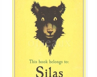 Personalized Bookplates - Vintage Bear - Book Label, Baby Shower Gift