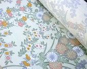Vintage Japanese Kimono Silk Fabric Chrysanthemums And Other Flowers Soft Green 14.3 x 1 Yards  (36.5cm x 1 M)