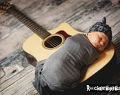 EXCLUSIVE RockerByeBeanies Newborn Baby knit skull cap hat beanie Gray Black Guitar Print  for your little boy or girl